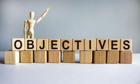 'Objectives' written on wood blocks. Business concept. Wooden model of human. Copy space. Beautiful white background.