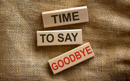 Concept text 'time to say goodbye' on wooden blocks on a beautiful canvas background. Business concept.