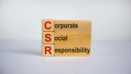 Concept words 'CSR, corporate social responsibility' on cubes and blocks on a beautiful white background. Business concept. Copy space.