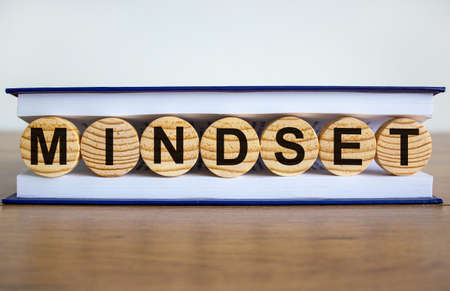 Concept word 'mindset' on wooden circles between pages of a book on a beautiful wooden table. White background. Business concept.