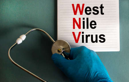 Hand in blue glove with stethoscope, white card with words 'West Nile virus'. Medical epidemic concept.