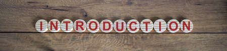 White small wooden circles with word 'introduction' on wood background. Business concept.