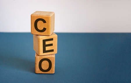 Concept word 'CEO' on cubes on a beautiful blue background. Business concept. Copy space.