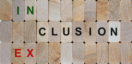 Wooden blocks form the words 'inclusion, exclusion'. Beautiful wooden background. Concept image.