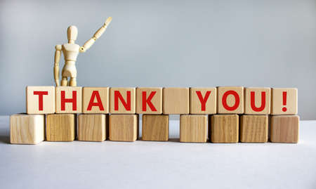 'Thank you' written on wood blocks. Business concept. Wooden model of human. Copy space. Beautiful white background.
