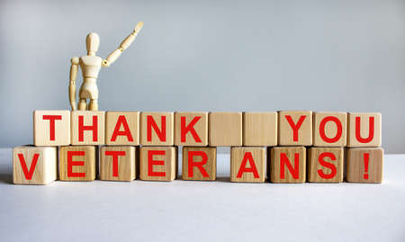 Concept words 'thank you veterans' on cubes on a beautiful white table. Wooden model of human. White background. Concept, copy space. 版權商用圖片