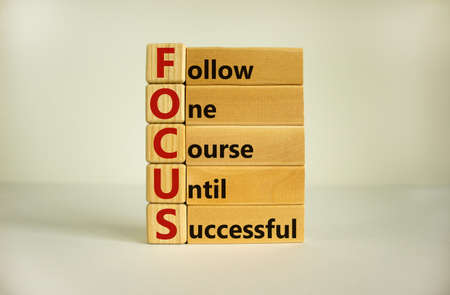 Wooden cubes and blocks with words 'FOCUS, follow one course until successful'. Beautiful white background, copy space. Business concept.