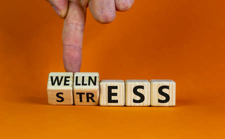 Wellness instead of stress. Hand turns cubes and changes the word 'stress' to 'wellness'. Beautiful orange background. Concept. Copy space.