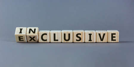 Symbol for a better inclusion. Inverted cube and changed word exclusive to inclusive. Beautiful gray background. Copy space. Stockfoto - 159208100