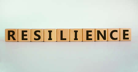'Resilience' written on wood blocks. Business concept. Copy space. Beautiful white background.