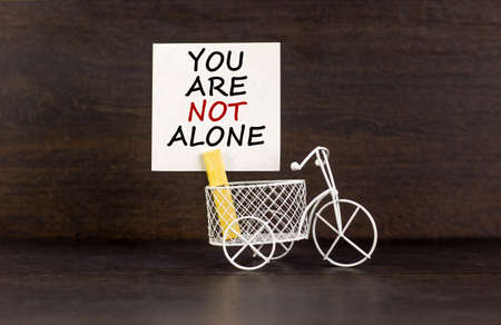 You are not alone symbol. Wooden clothespin with white paper. Words 'You are not alone'. Miniature bicycle model. Beautiful dark wood background. Business and support concept, copy space. Reklamní fotografie