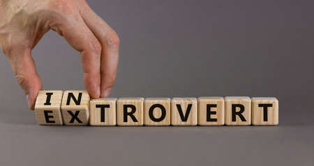 Introvert or extrovert symbol. Hand turns cubes and changes the word 'introvert' to 'extrovert'. Beautiful gray background, copy space. Psychological and Introvert or extrovert concept.