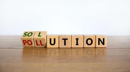 The solution to pollution symbol. Fliped wooden cubes and changed the word 'pollution' to 'solution'. Beautiful wooden table, white background, copy space. Business, ecological and pollution concept.