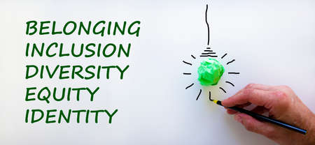 Belonging symbol. Businessman writing 'identity, equity, diversity, inclusion, belonging', white background. Light bulb icon. Business, belonging, diversity and better inclusion concept. Copy space.