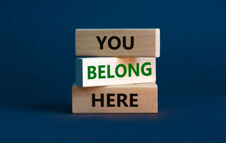 You belong here symbol. Wooden blocks with words 'You belong here' on beautiful gray background. Diversity, business, inclusion and belonging concept. Standard-Bild