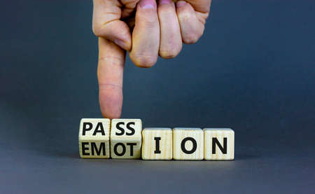 Passion or emotion symbol. Businessman turns wooden cubes and changes the word 'emotion' to 'passion'. Beautiful gray table, gray background, copy space. Business, passion or emotion concept. 스톡 콘텐츠