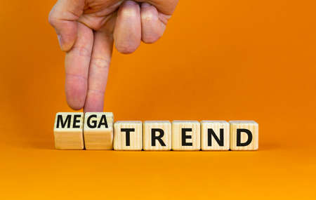 Trend or megatrend symbol. Businessman turns wooden cubes and changes words trend to megatrend. Beautiful orange table, orange background, copy space. Business, trend or megatrend concept.