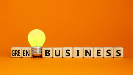 Time to green business symbol. Wooden cubes with words 'Green business'. Yellow light bulb. Beautiful orange background. Green success business concept. Copy space. Stock Photo