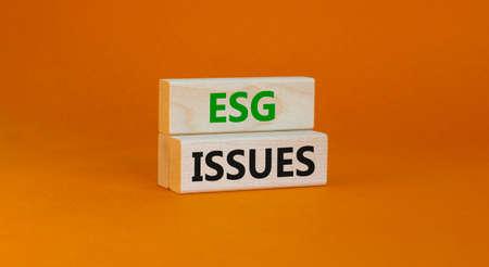 ESG environmental social governance issues symbol. Concept words ESG issues on blocks on a beautiful orange background. Business, ESG environmental social governance issues concept. Copy space.