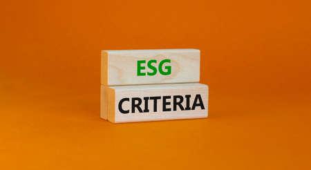 ESG environmental social governance criteria symbol. Concept words ESG criteria on blocks on a beautiful orange background. Business, ESG environmental social governance criteria concept. Copy space.