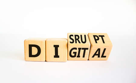 Digital or disrupt symbol. Turned cubes and changed the word 'digital' to 'disrupt'. Beautiful white background. Business digital or disrupt concept. Copy space.