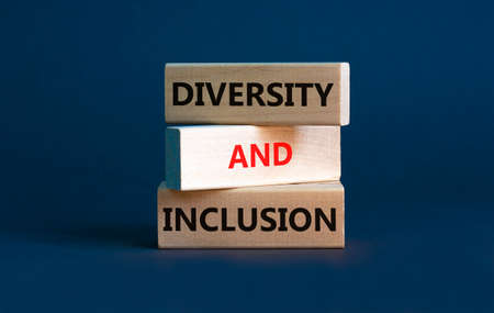 Diversity and inclusion symbol. Wooden blocks with words 'Diversity and inclusion' on beautiful grey background. Diversity, business, inclusion and belonging concept. Stock Photo