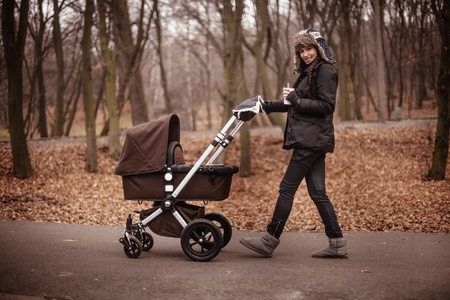 mother walking in the fall  park with brown stroller Standard-Bild
