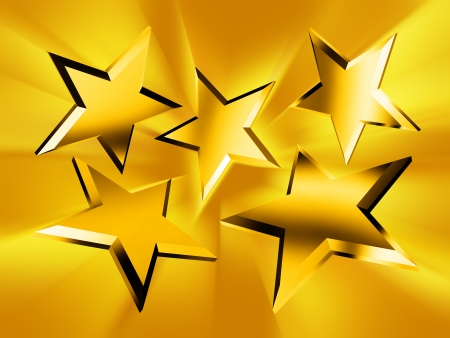 five stars: Five gold stars in the rays Stock Photo