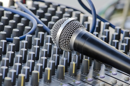 Microphone on the soundboard photo