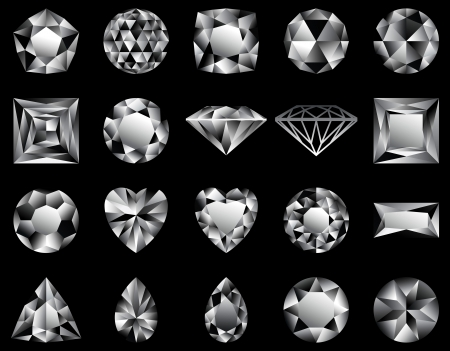 Various forms of diamonds cutting, in illustration Vector