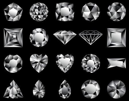 Verschillende vormen van diamanten snijden, in de illustratie