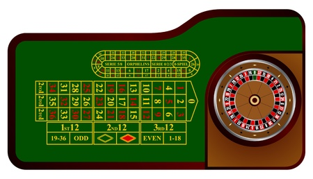 European roulette table in illustration Illustration