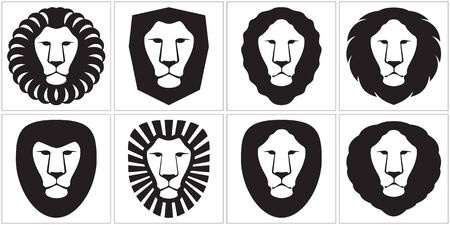 Lion is graphically stylized in illustration Vector