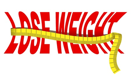 waist weight: Text  Lose weight  with tape measure, isolated over white Illustration