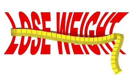 cinta de medir: Texto Bajar de peso con la cinta métrica, aislado más de blanco Vectores