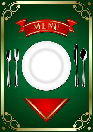 Cover the restaurant menu - plate, forks, spoon and knifes on the green background Vector