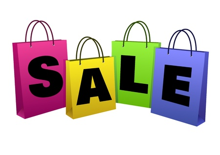 The word  SALE  on the paper bags,  isolated over white  Vector