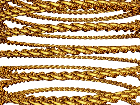 Gold chain in the form of a spiral, isolated over white