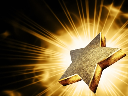 triunfador: Una estrella de oro en los rayos de luz