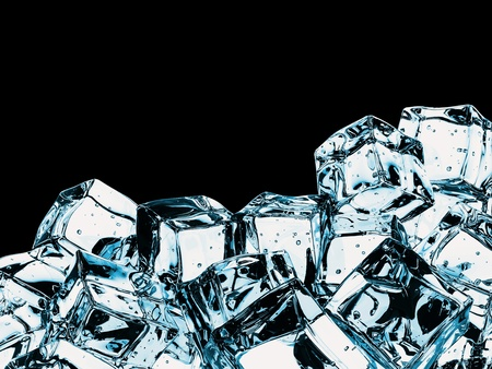 Beautiful Ice cubes, isolated over black Stock Photo