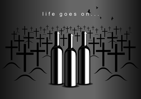Bottles of wine on the background of the cemetery Vector