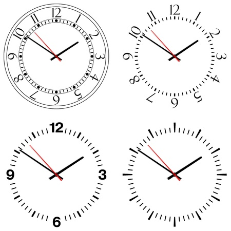 Four different designs of clocks Illustration
