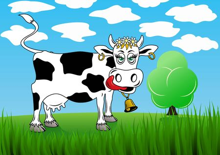 Cow on a background of green grass and the sky  Eps 8  Vector