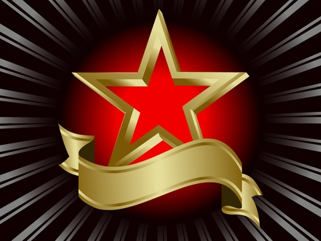 etoile or: Gold Star entour� de rayons Illustration