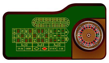 ruleta de casino: Mesa de la ruleta americana en el vector