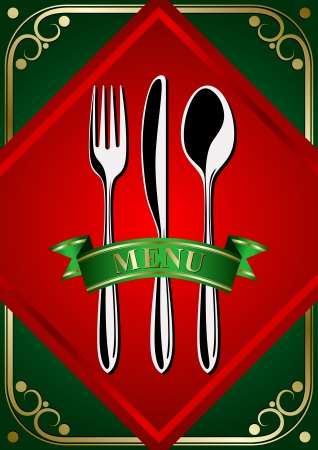 lunchroom: Template for the menu  place setting - forks, spoon and knifes on the green background Illustration