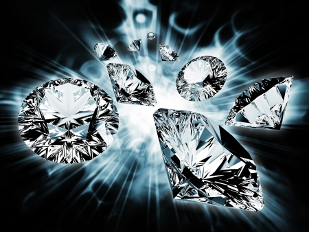 Diamonds flying in the bright rays Stock Photo - 14636486