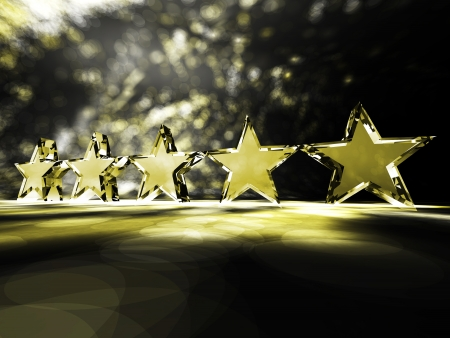 Five gold stars on a colorful background Stock Photo - 14636410