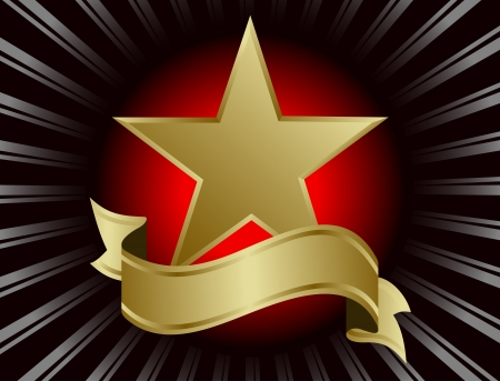 gouden ster: Gold Star omgeven door stralen