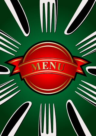 lunchroom: Template for the menu  place setting - forks and knifes on the green background